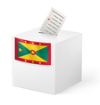 Ballot box with voting paper Grenada vector image