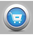 blue button - shopping cart minus vector image