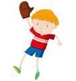 Little boy with baseball glove vector image