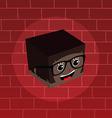 female isometric block cartoon head vector image