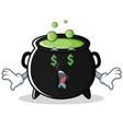 money eye magic cauldron character cartoon vector image