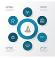 season outline icons set collection of sunny sea vector image