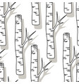 birch tree pattern black and white trees seamless vector image vector image