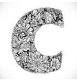 Doodles font from ornamental flowers - letter C vector image