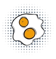 Fried eggs comics icon vector image