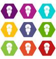 Reflector bulb icon set color hexahedron vector image