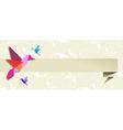 Origami hummingbird floral banner vector image