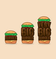 Icon set burgers small big and very big vector image
