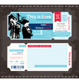 Ticket Wedding Invitation Design Template vector image