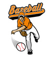 baseball pitcher throwing the ball vector image vector image