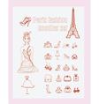 Paris fashion doodles set vector image