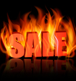 Flaming letters spelling SALE vector image