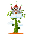 Bean sprout with castle in the clouds cartoon vector image vector image