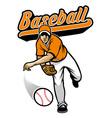 baseball pitcher throwing the ball vector image