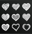 chalkboard sketch of hand drawn hearts set vector image