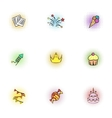 Children party icons set pop-art style vector image