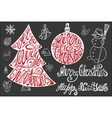 Christmas letteringNew year card elements set vector image