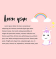 cute unicorns cartoon happy fun baby unicorn vector image