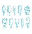 doodle ice cream cones set hand drawn vector image
