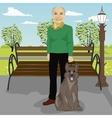 elderly man and his dog in park in summer vector image