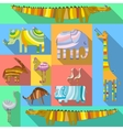 Flat Icons with African Animals vector image
