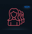 group of women line icon teamwork sign vector image