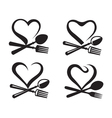 icons with spoon fork and heart vector image