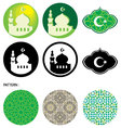 mosque and islamic pattern vector image