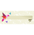 Origami hummingbird floral banner vector image