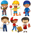 People doing different jobs on white vector image