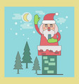 santa claus in chimney holding smart phone vector image