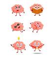 Cute brain cartoon vector image