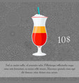 alcoholic tequila sunrise cocktail card template vector image