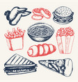 fast food - of color hand drawn vector image