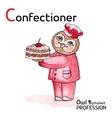 Alphabet professions Owl Letter C - Confectioner vector image