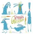 Brightly Colored Fun Cartoon Rabbits Animals vector image