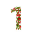 christmas floral tree number 1 vector image