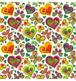Seamless valentine pattern with vintage colorful vector image