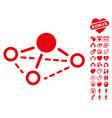 molecule icon with love bonus vector image