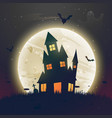 scary haunted halloween house in front of moon vector image
