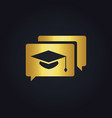 graduation hat education gold logo vector image