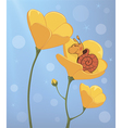 A sleeping snail and a yellow flower cartoon vector image