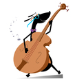 Dog plays on double bass vector image