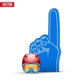 Winter Sports Fan Foam Fingers and helmet vector image