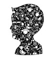 boy head full of creative ideas vector image
