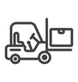 forklift delivery truck line icon logistic vector image