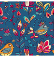Seamless texture with flowers and birds vector image