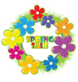 Spring sale advertising with grass and flowers vector image