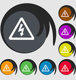 voltage icon sign Symbol on eight colored buttons vector image