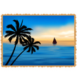 postcard depicting the beach palm trees and sea vector image